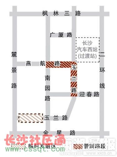 长沙汽车西站春运管制示意图
