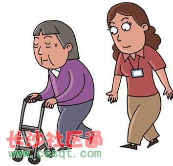 院老年课堂之失能老人的步行援助  2,使用拐杖的情况(左侧麻痹的状况)