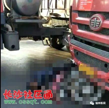 陕西榆林一骑摩托车男子男子被大车碾过当场身亡